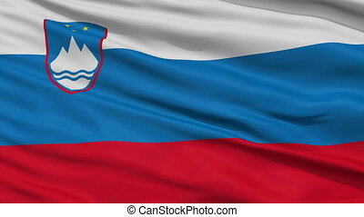 Close Up Waving National Flag of Slovenia - Slovenia Flag...