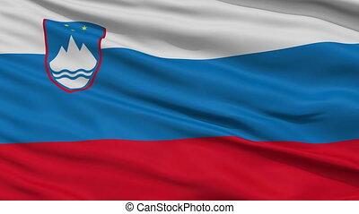 Close Up Waving National Flag of Slovenia - Slovenia Flag...