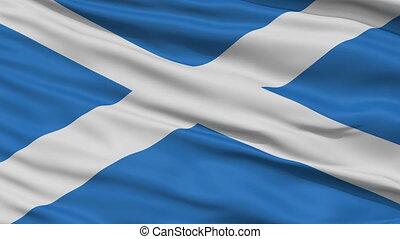 Close Up Waving National Flag of Scotland