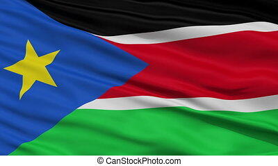 Close Up Waving National Flag of South Sudan - South Sudan...