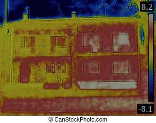 Semi Detached House Infrared - Thermal Image of Semi...
