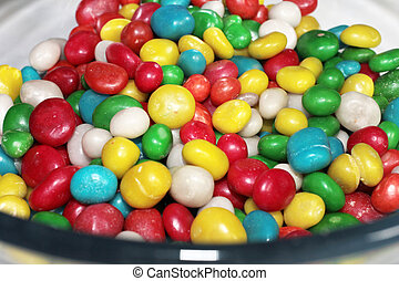 candy sugar pills - a heap of colorful round candy sugar...