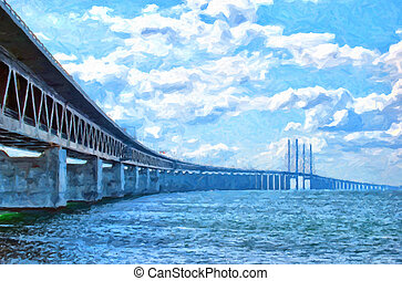 Oresundsbron Digital Painting - A digital painting of the...
