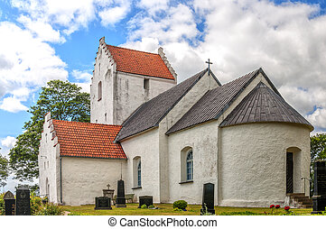 Ravlunda church in Sweden - An image of the old white...