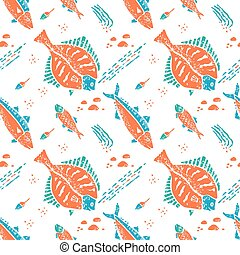 Flounder pattern in naive lino style - Flounder seamless...