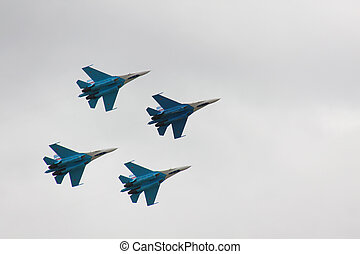 Russian fighter in the sky on MAKS aviashow