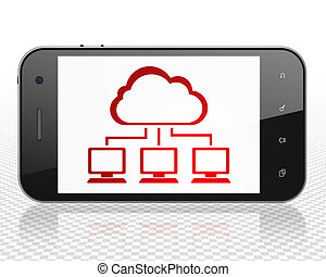 Cloud networking concept: Smartphone with Cloud Network on display