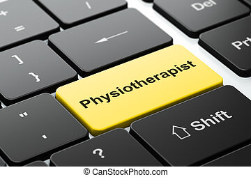 Healthcare concept: Physiotherapist on computer keyboard...