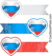 Hearts with flags and ribbons