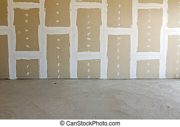 Plasterboard wall - Front view of gypsum wall with joints at...