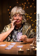 Eccentric elderly lady with cards - Eccentric mysterious...