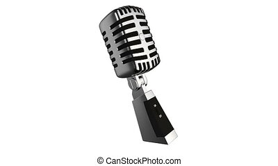 Vintage silver microphone isolated - Loopable video...