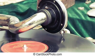Old dusty vinyl player