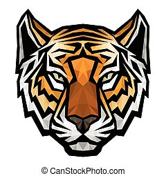 Tiger head logo mascot on white background