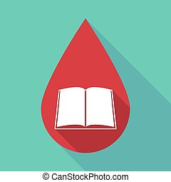 Long shadow blood drop with a book - Illustration of a long...