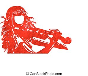 violin playing, silhouette, Woman