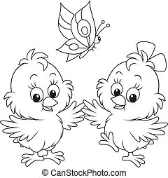 Easter chicks - Black and white vector illustration of two...