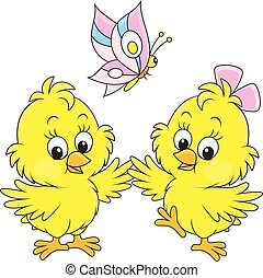 Easter chicks - Vector illustration of little yellow...