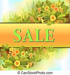 Orange yellow primroses - Spring sale banner. Yellow orange...