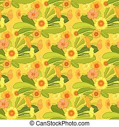 Orange yellow primroses pattern - Spring summer floral...