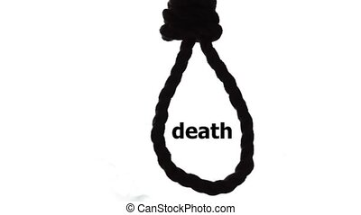 suicide, depressed man, gallows noose around his neck