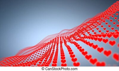 background with many red hearts on blue background. Red...