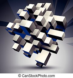 Contemporary technology black and white stylish architectural construction, abstract 3d figure.