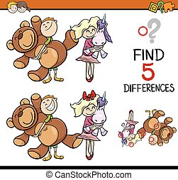 task of finding differences - Cartoon Illustration of...
