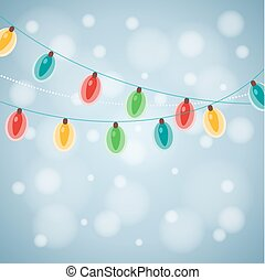 Colourful Glowing Christmas Lights Vector illustration...
