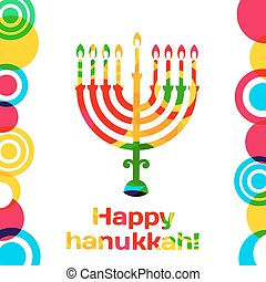 Vector Happy Hanukkah greeting card design.