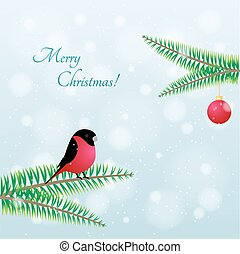 Christmas Bird. Vector Bullfinch on branch