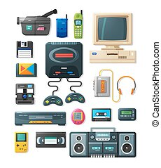Flat retro gadgets of 90s - Detailed flat icons with gadgets...