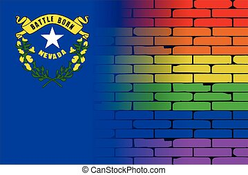 Rainbow Wall Nevada - A well worn wall painted with a LGBT...