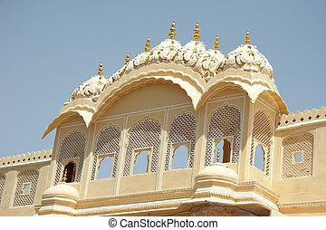treillis, fenetres, palais, Vents, Jaipur, Inde