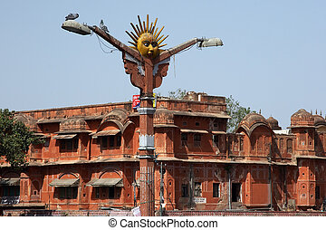 Street lamp in Jaipur, India - Street view near Palace of...