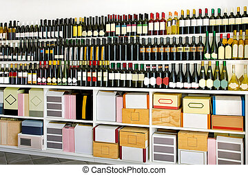 Restaurant storehouse - Bunch of wine bottles and boxes in a...