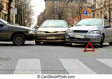 Three car crash traffic accident at street