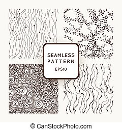 Set of vector seamless patterns: curves with beads, threads with hearts, curls in the style of the waves
