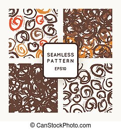Set of vector seamless patterns with grungy hand-drawn spiral elements