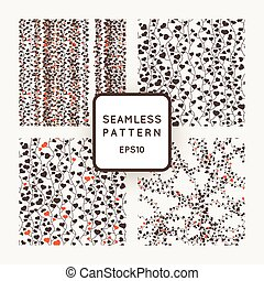 Set of vector seamless patterns of stylized vines with leaves in the form of hearts