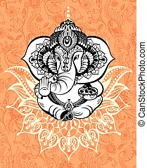 Ornament God Ganesha - Invitation cards Diwali Holiday
