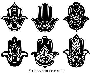 Hamsa hand, Hand of Fatima - amulet - Hamsa hands