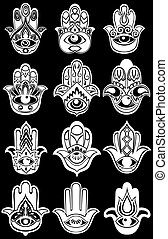 Hamsa hand, Hand of Fatima - amulet - Hamsa symbols