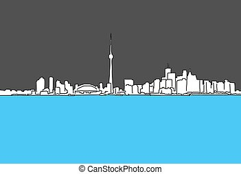 Vancouver Downtown Panorama Outline Sketch with Skyscrapers...
