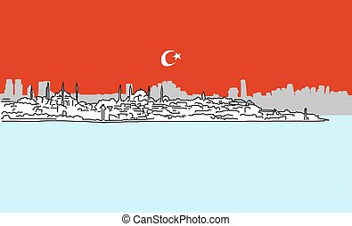 Istanbul Downtown Panorama Outline Sketch with Skyscrapers...