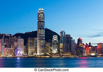 Skyline of hong kong at night