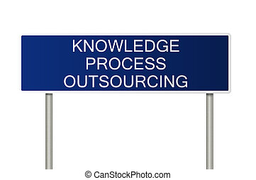 Road sign with text Knowledge Process Outsourcing - A blue...
