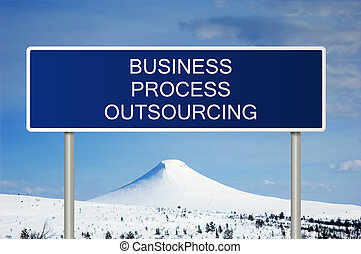 Road sign with text Business Process Outsourcing - A blue...