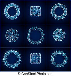 Collection of vector microchip designs, cpu. Information communication technology elements with sparkles, blue luminescent circuit boards in the shape of square and circle.