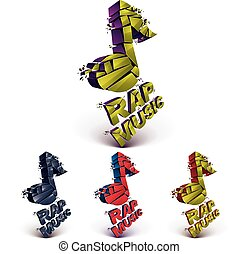 Set of 3d colorful vector shattered musical notes with...